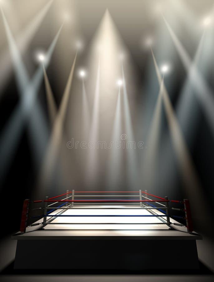 Boxing Ring Spotlit Dark stock images