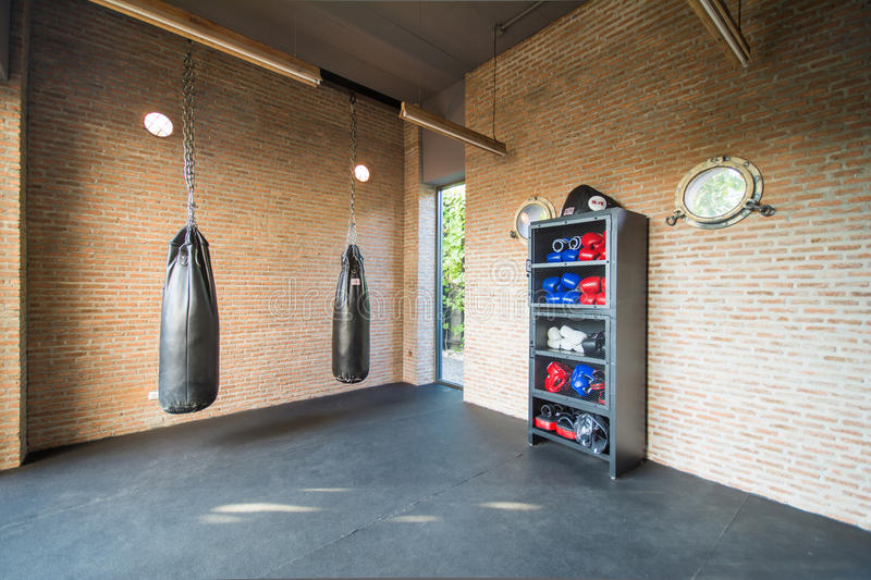 Boxing room mini gym for exercise stock photo image