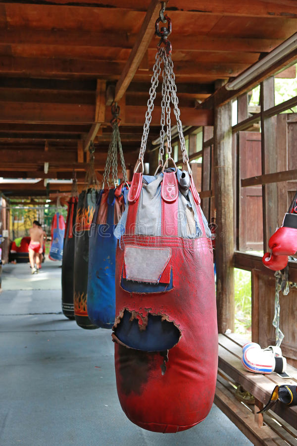 Boxing sand bags hanging royalty free stock image