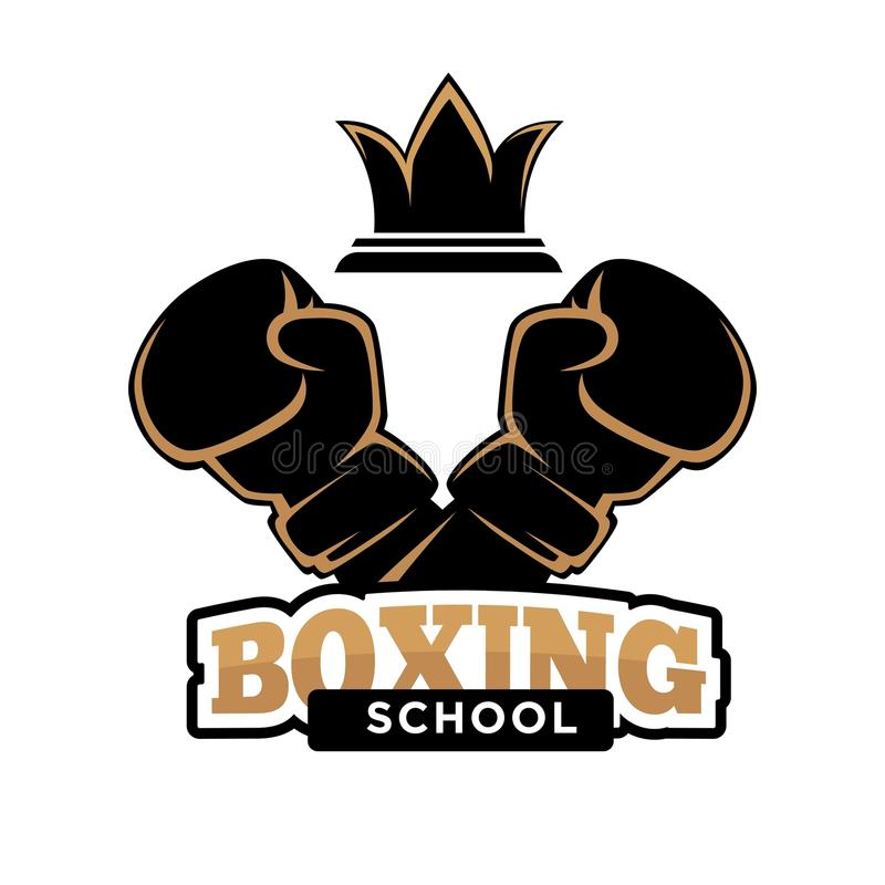 Boxing school club vector icon template of boxer arm in box glove. Boxing school club logo template of boxer arm in glove and victory crown symbol. Vector royalty free illustration