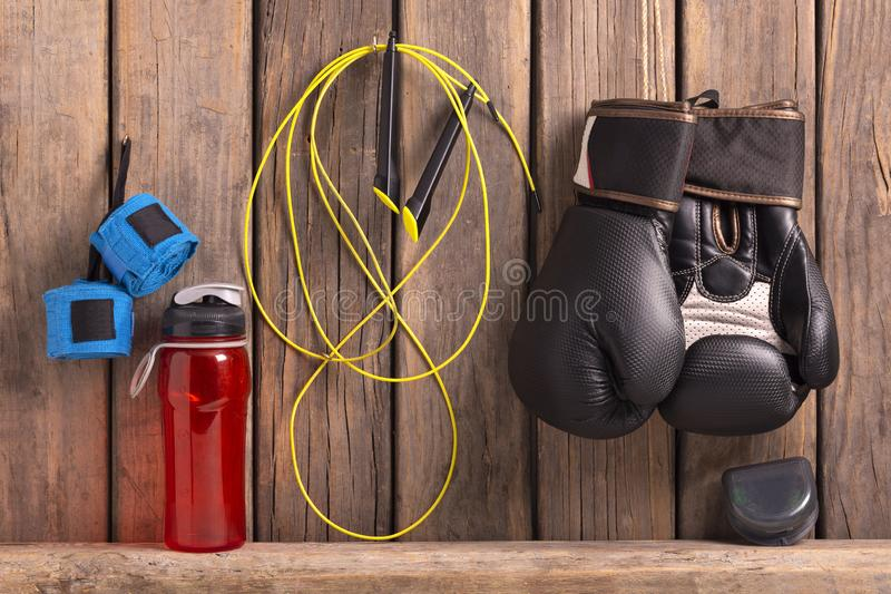boxing set hung on rustic background stock photography