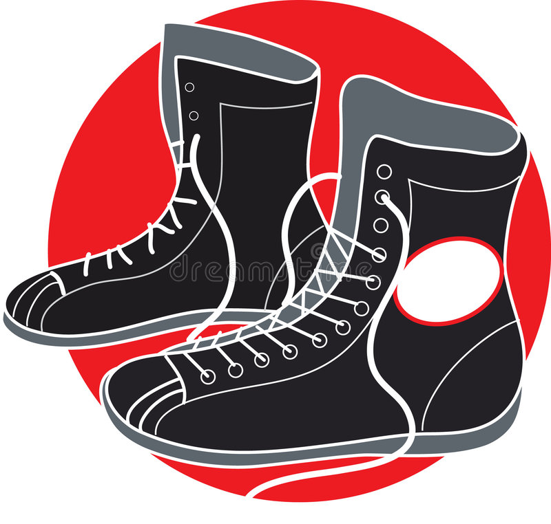 Boxing Shoes. On a red background royalty free illustration