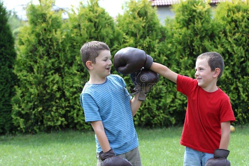 Boxing sibling stock photos