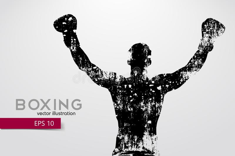 Boxing silhouette. Boxing. Vector illustration. Boxing silhouette. Background and text on a separate layer, color can be changed in one click. Boxing. Vector