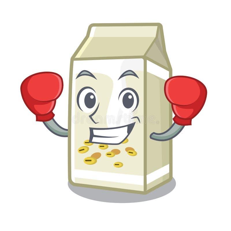 Boxing soy milk in a cartoon box stock illustration