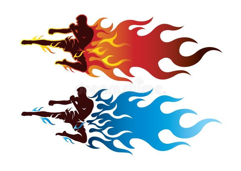 Boxing sport with fire. Boxing sport with fire logo stock illustration
