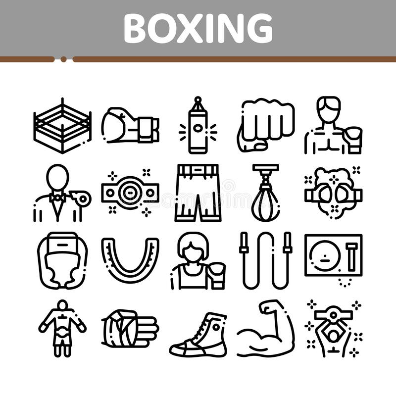 Boxing Sport Tool Collection Icons Set Vector. Thin Line. Boxing Glove And Shirts, Protection Helmet And Mouth Piece, Ring And Box Award Concept Linear royalty free illustration