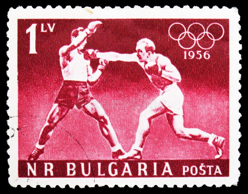 Boxing, Summer Olympic Games 1956, Melbourne serie, circa 1956 royalty free stock photos