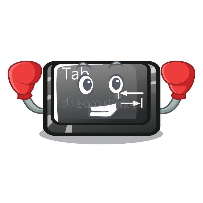 Boxing tab button installed on computer character stock illustration