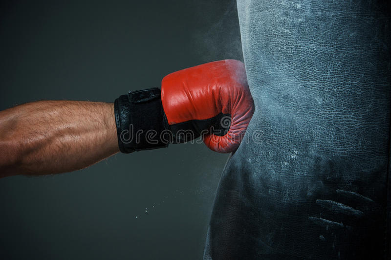 Boxing training and Punching bag stock images