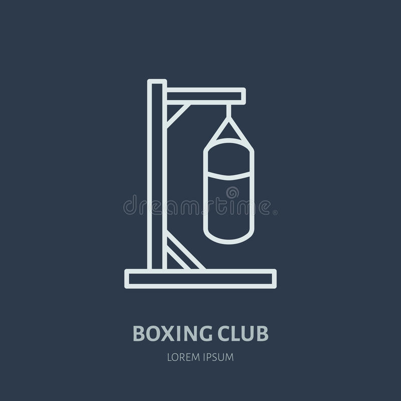 Boxing vector line icon. Punching bag logo, equipment sign. Sport competition illustration royalty free illustration