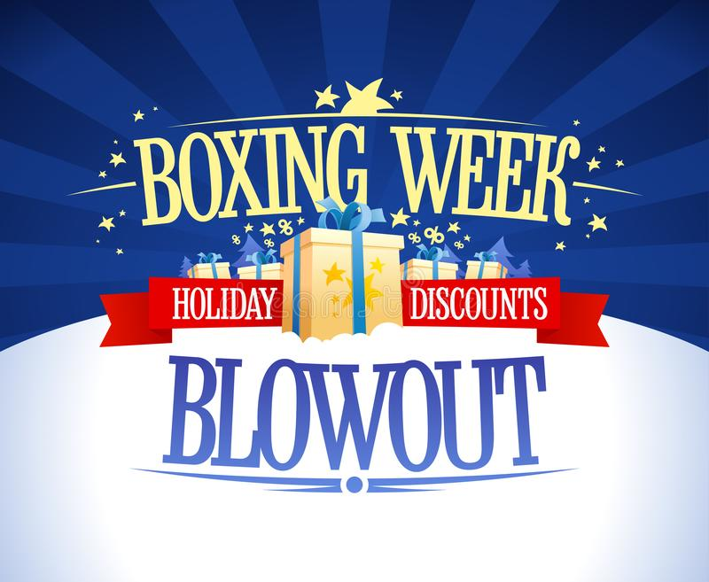 Boxing week blowout sale vector banner concept. Holiday discounts vector illustration