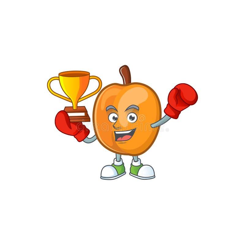 Boxing winner apricot fruit in the cartoon shape. Vector illustration stock illustration