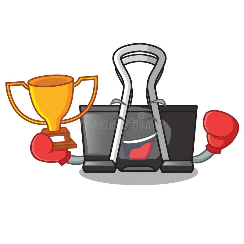 Boxing winner binder clip for charcter on documents. Vector illustration royalty free illustration