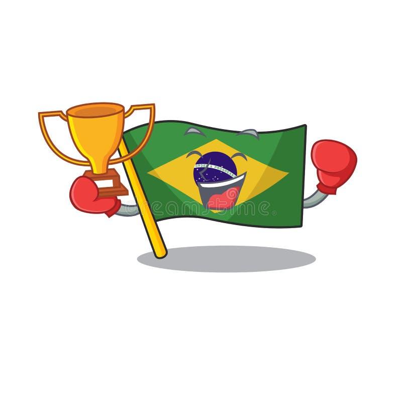 Boxing winner brazil flag kept in mascot drawer. Illustration vector royalty free illustration