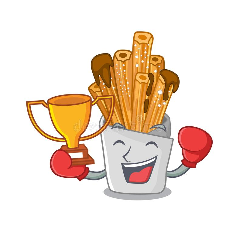 Boxing winner churros in the wooden character jar. Vector illustration royalty free illustration