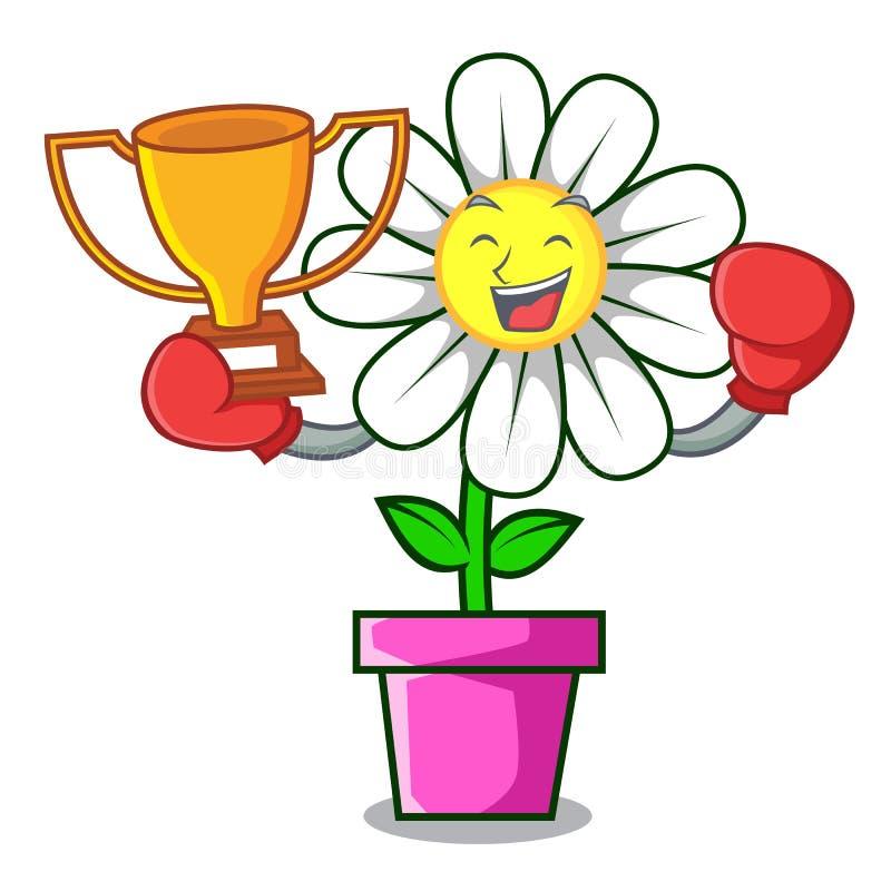 Boxing winner daisy flower mascot cartoon stock illustration