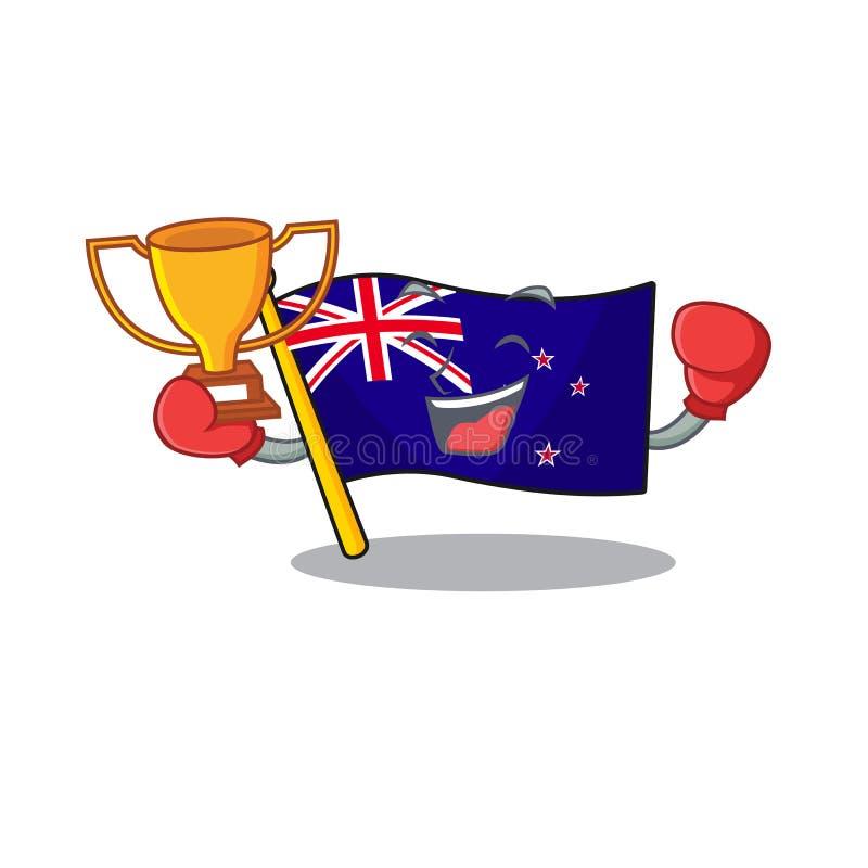 Boxing winner flag new zealand in cartoon drawer. Vector illustration royalty free illustration