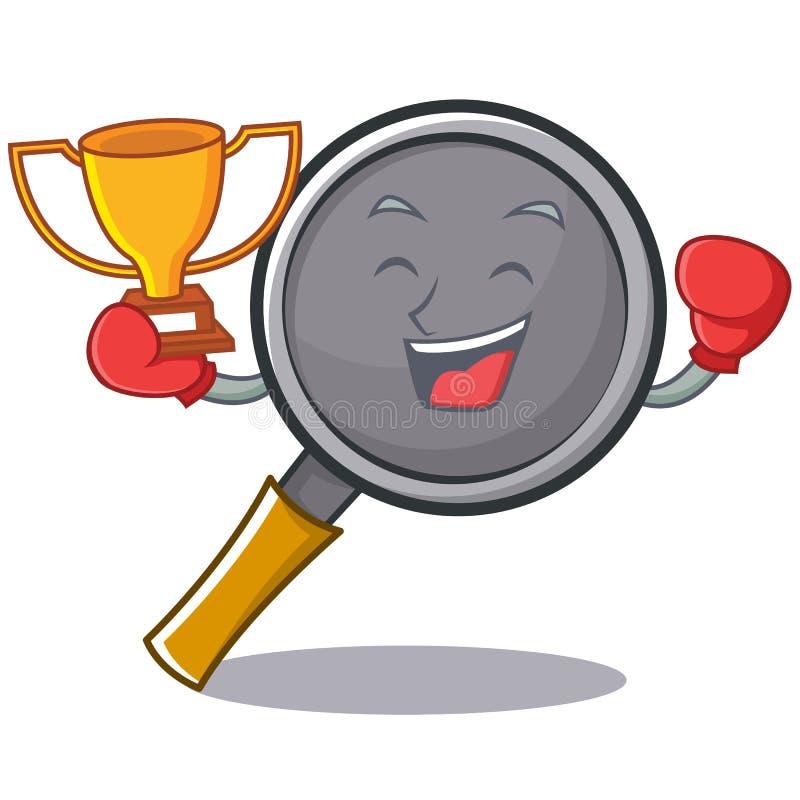 Boxing winner frying pan cartoon character. Vector illustration vector illustration