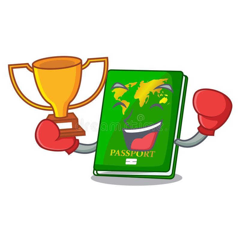Boxing winner green passport on the mascot table. Vector illustration stock illustration