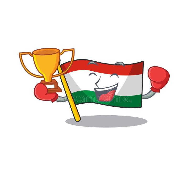 Boxing winner hungary flag folded in character drawer. Vector illustration vector illustration