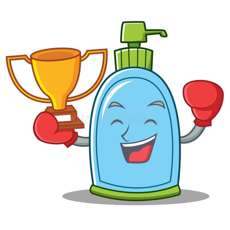 Boxing winner liquid soap character cartoon royalty free illustration