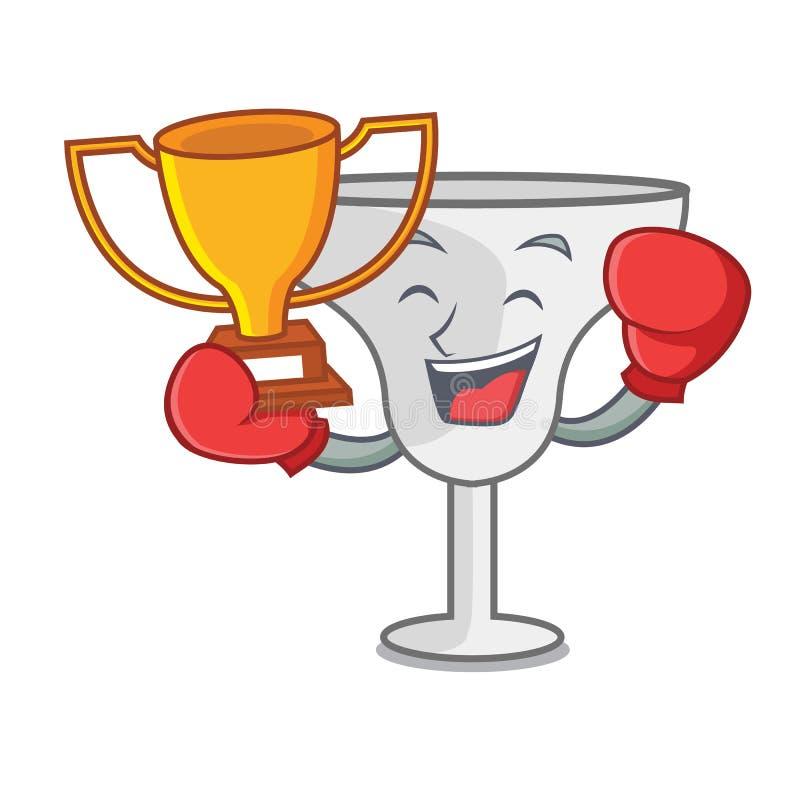 Boxing winner margarita glass mascot cartoon. Vector illustration royalty free illustration