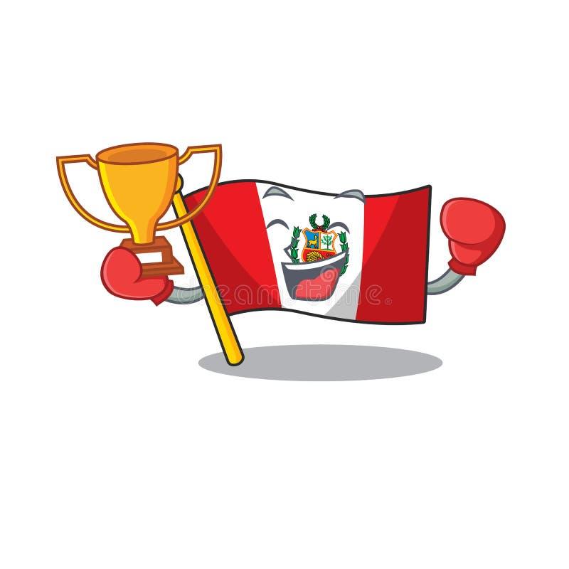Boxing winner peru flag stored in character drawer. Vector illustration royalty free illustration