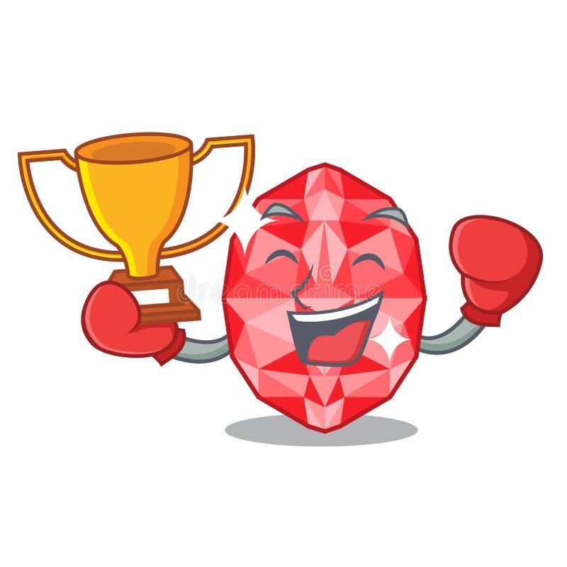 Boxing winner ruby gems in the mascot shape. Vector illustration vector illustration