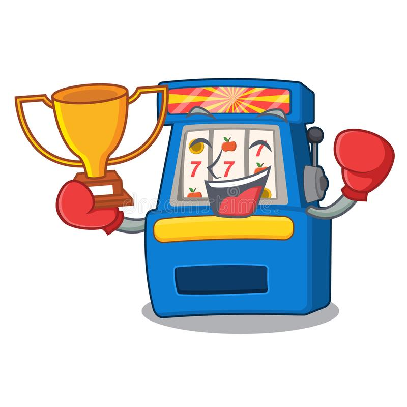 Boxing winner slot machine attached to cartoon wall royalty free illustration