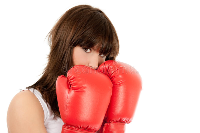 Download Boxing woman stock image. Image of defeat, isolated, young - 13381955