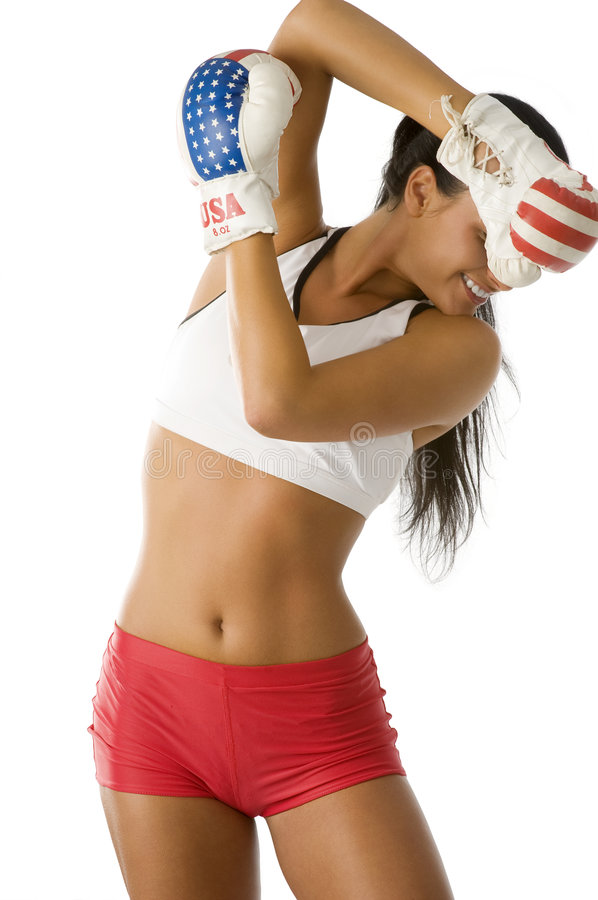 Boxing woman going down stock photo