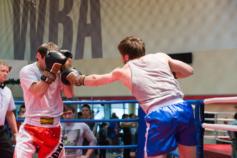 Boxing workout training. MOSCOW, RUSSIA - December 15, 2012 - Boxing workout training scene stock images
