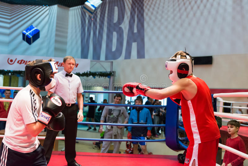 Boxing workout training. MOSCOW, RUSSIA - December 15, 2012 - Boxing workout training scene stock photography