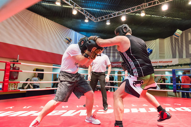 Boxing workout training. MOSCOW, RUSSIA - December 15, 2012 - Boxing workout training scene stock photo