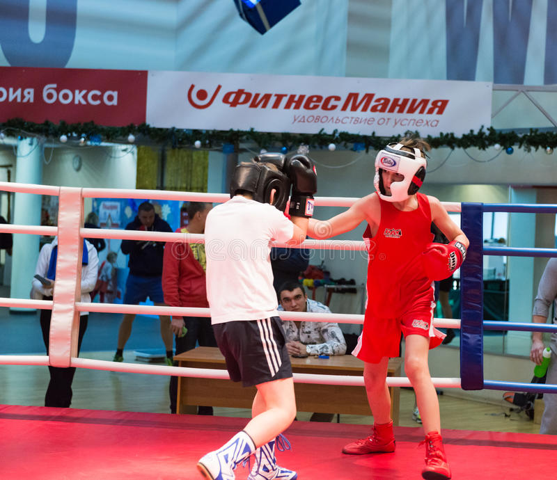 Boxing workout training. MOSCOW, RUSSIA - December 15, 2012 - Boxing workout training scene royalty free stock image