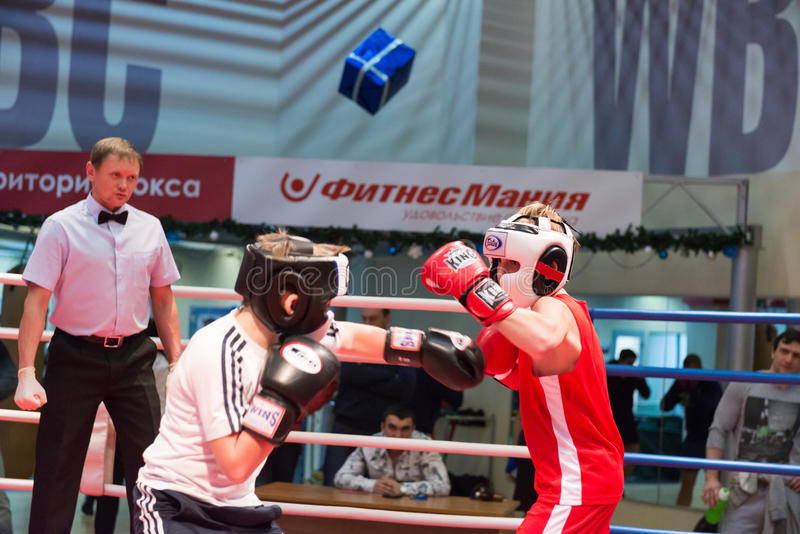 Boxing workout training. MOSCOW, RUSSIA - December 15, 2012 - Boxing workout training scene royalty free stock images