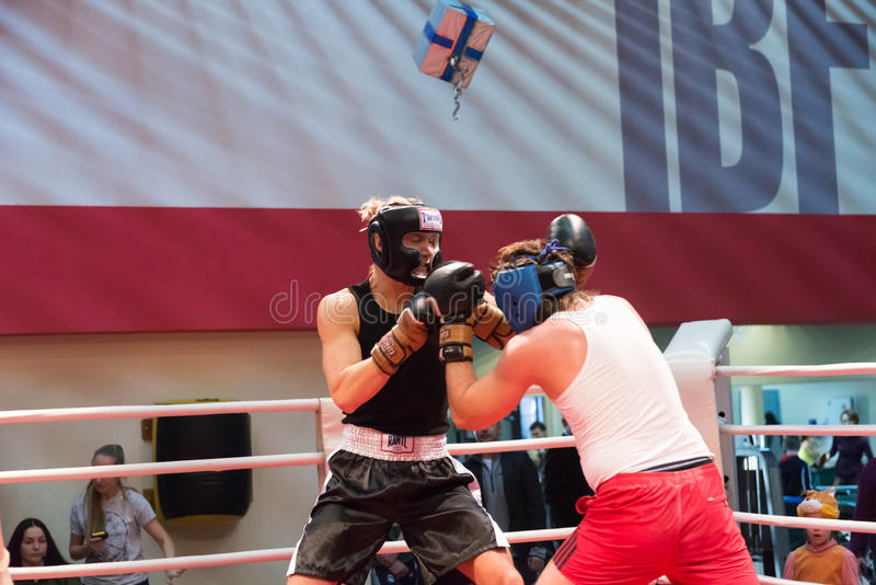 Boxing workout training. MOSCOW, RUSSIA - December 15, 2012 - Boxing workout training scene royalty free stock photos