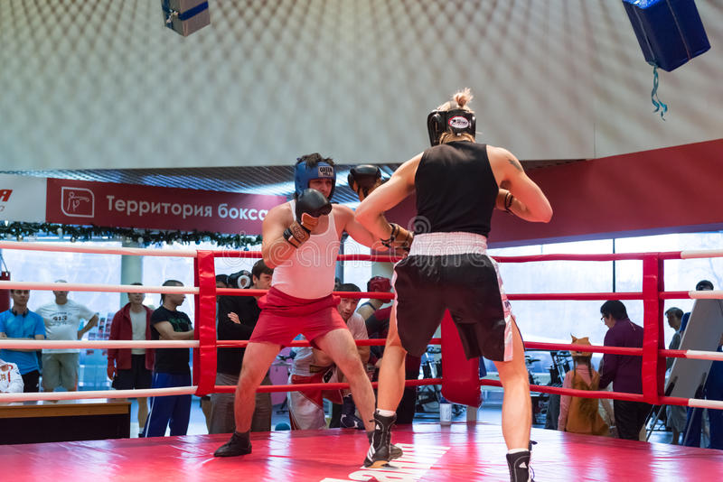 Boxing workout training. MOSCOW, RUSSIA - December 15, 2012 - Boxing workout training scene royalty free stock photo