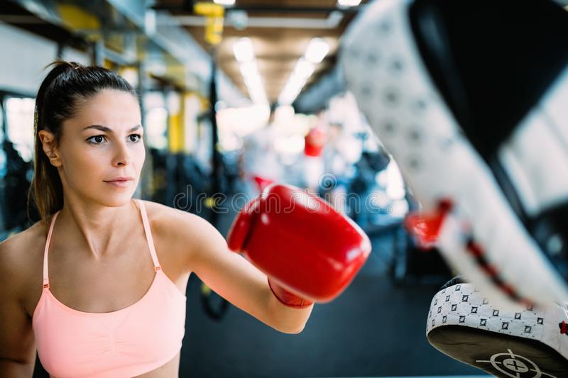 Boxing workout woman in fitness class ring royalty free stock images