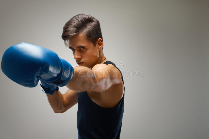 Boxing. Young Boxer ready to fight stock images