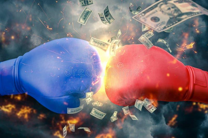 Boxkampf zwischen zwei mächtigen Gegnern lizenzfreies stockbild