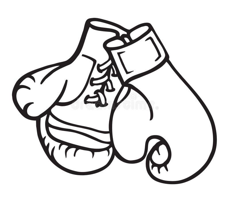Boxng Gloves Illustration. Illustration of Boxing Gloves, black and white line art stock illustration