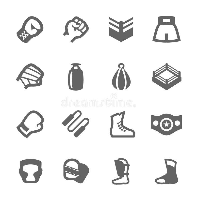 Boxning- och stridighetsymboler royaltyfri illustrationer