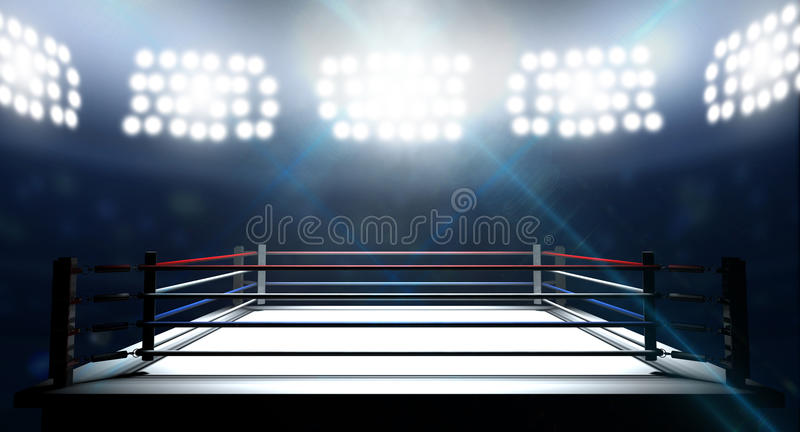 Boxning Ring In Arena arkivfoto