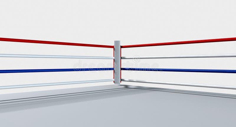 Boxning Ring Isolated White royaltyfri illustrationer