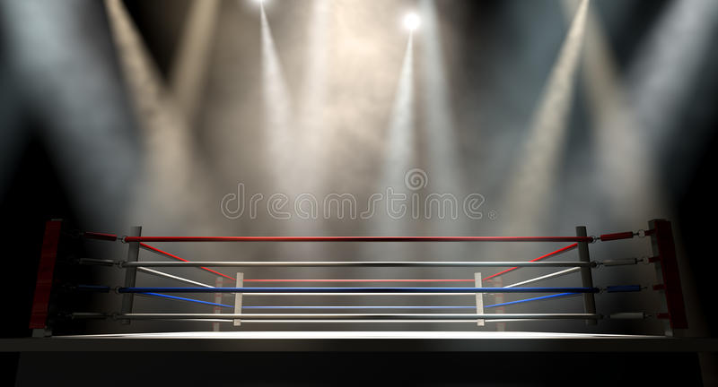 Boxning Ring Spotlit Dark royaltyfria foton