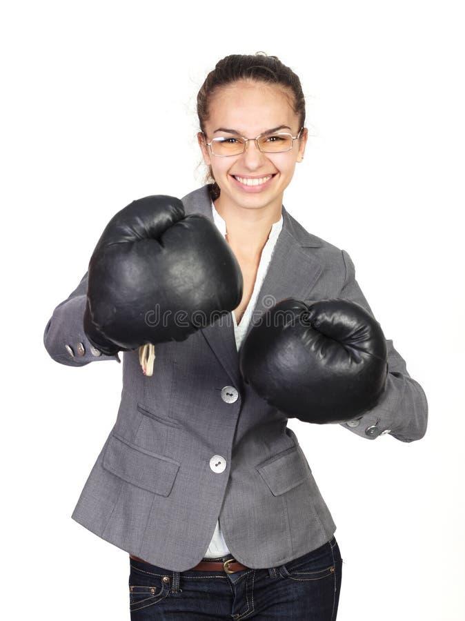 boxningaffärskvinna royaltyfri foto