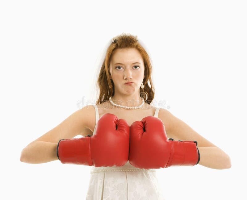 boxningbrudhandskar arkivfoton
