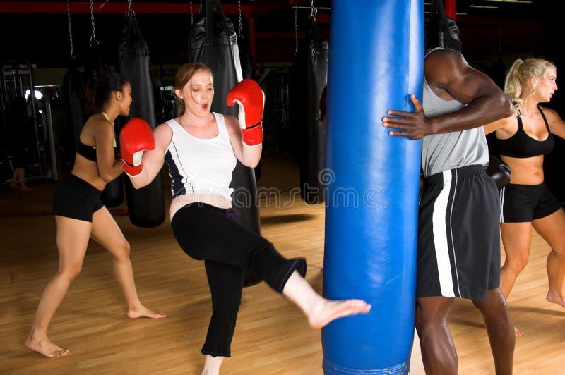 boxninggruppkick arkivfoto